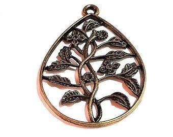 1 Flower charm antique bronze charm pendant