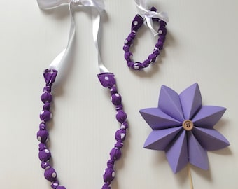 Fabric Beaded Necklace & Bracelet set- Purple polka dots