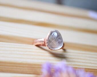 Clear quartz ring Raw quartz ring Electroformed ring Clear stone ring Raw stone ring Copper ring Raw quartz Electroformed stone ring For her