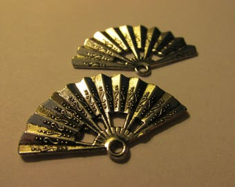 "Silver Tone Metal Japanese Fan Charm-Pendant, 1 1/4"", Set of 2"