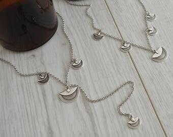 Silver chain Tuareg choker necklace, Lariat Tuareg Y shaped Necklace, Boho Bohemian Delicate Contemporary Necklace, Contemporary jewelry
