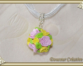 Yellow rose necklace ball 103021