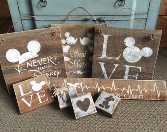 Rustic Barnwood Disney, Mickey Ultimate Group of Signs!! For the Disney Lovers!!