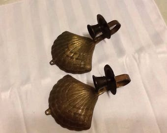 Vintage sold brass pair of shell candleholder sconces- Wall sconces-