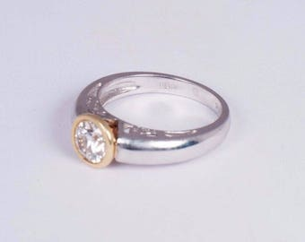 Platinum and 18K Yellow Gold Bezel Set app. 1ct. Engagement Ring size 7