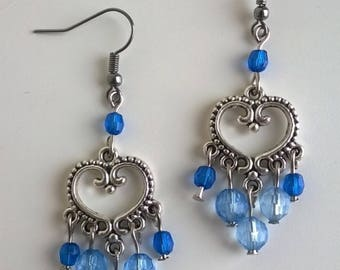 Bohemian heart and blue beads earrings