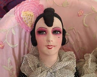 1920 DECO French Pierrette  Boudoir Doll pierrot All original!