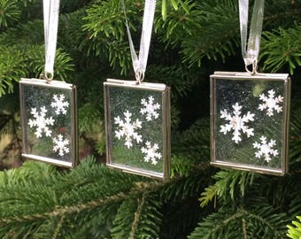 Silver Christmas Ornaments - Snowflake Decoration - Christmas Tree Decorations - Unique Christmas Ornaments - Xmas Ornaments - Postage Stamp