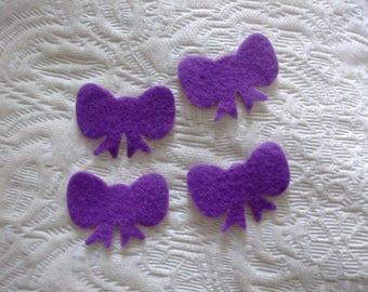 LOT 4 bowties self-adhesive felt 43 mm x 30 mm purple scrapbooking, sewing, decoration...