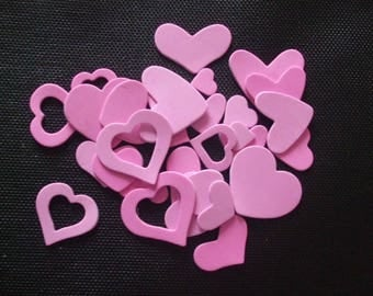 x 30 hearts stickers pink (scrapbooking, sewing, decoration...)