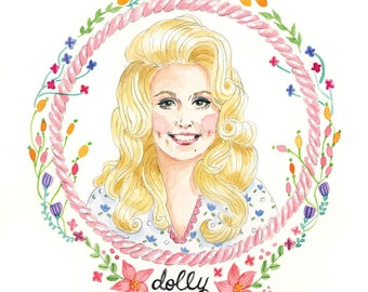 Dolly Parton Country Queen Watercolor Illustration Print 5x7