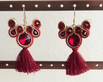 Soutache Earrings, Statement Earrings, Soutache, Red Earrings, Gold Earrings, Tassel Earrings, Swarovski Earrings, Vegan Friendly Earrings