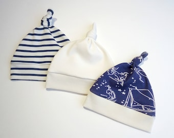 Baby boy ORGANIC beanie-Boy stripes hat-Baby knot hat- Organic Newborn beanie-Nautical baby boy hat
