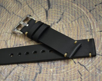 Black watch strap, leather watch strap  20mm 21mm 22mm 23mm 24mm handmade