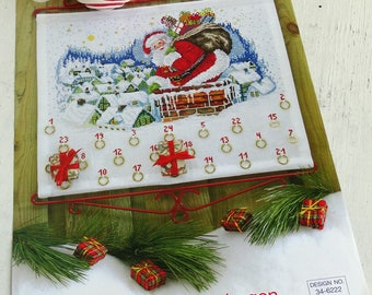 Advent Calendar counted cross stitch pattern DIY kit easy Permin of Copenhagen 34-6222 Christmas Santa Claus Vintage deadstock NEW