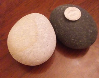 2 large oval-egg shaped super smooth river rocks for painting