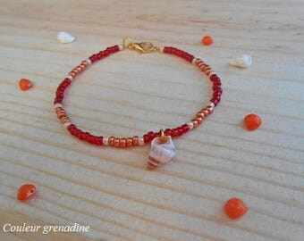 Minimalist bracelet red and yellow shell beads, gift idea party big day, Easter