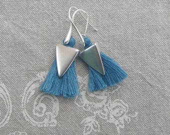"Stylized ""Tassel Blue Jean"" earrings"