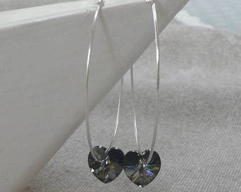 "Earrings silver grandescreoles ""Gray heart"""