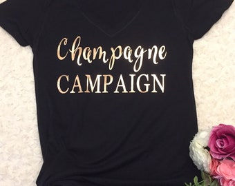 Champagne campaign glitter gold t-shirt/bridal party shirt/girls weekend shirt