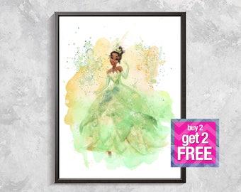 Tiana Print, Tiana Princess, Tiana Watercolor print , The Princess and the Frog print, The Princess and the Frog poster, digital download