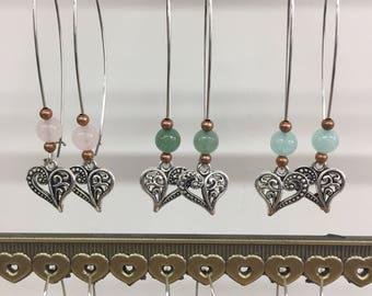 Boho chic earring, silver, real gems, quartz,aventurine, jade, agate, flower,leaves
