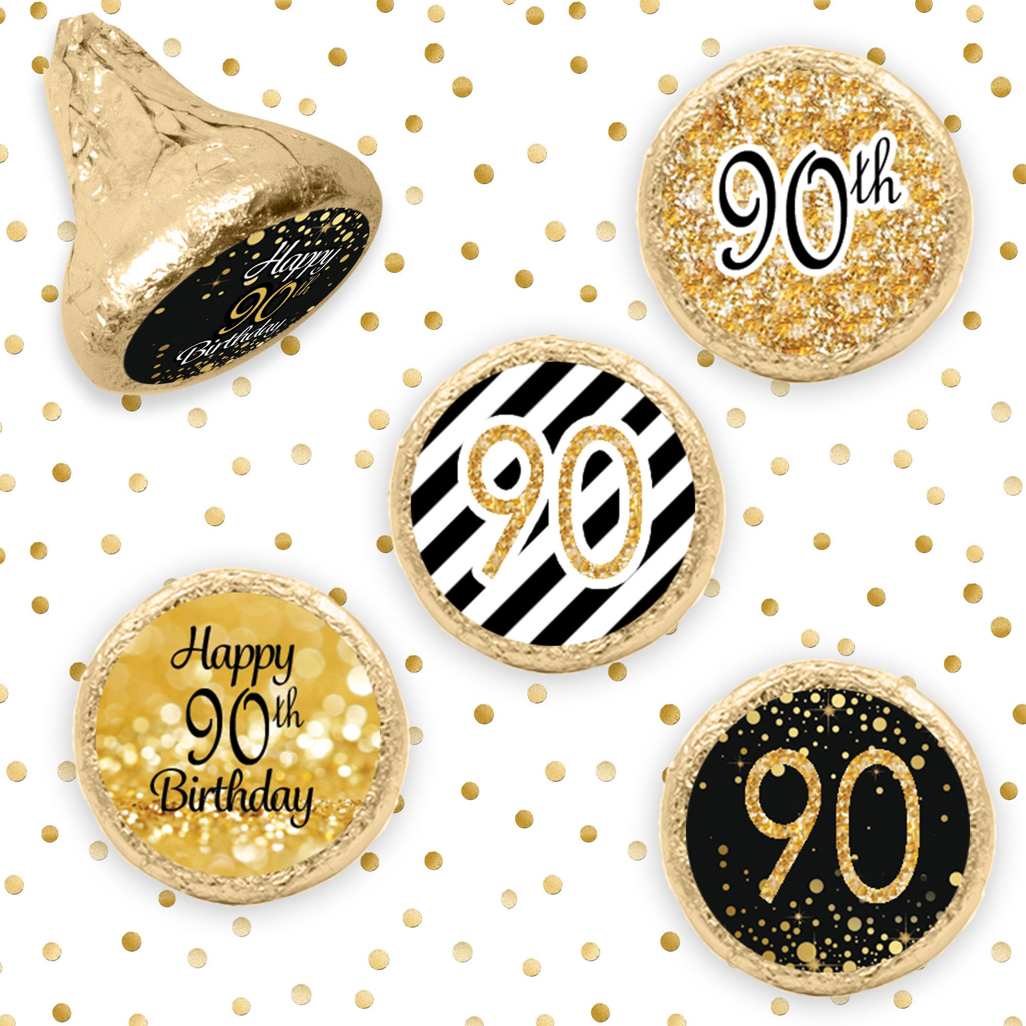 90th birthday party decorations gold black stickers for for 90th birthday decoration