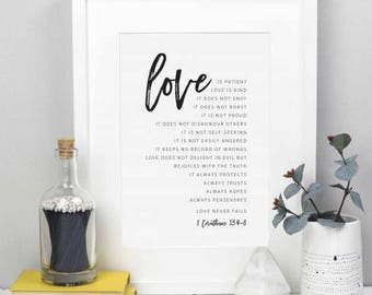 Love is patient | A4 Christian Bible Print | 1 Corinthians 13 Art | Christian Home Decor | Scripture Wedding Gift