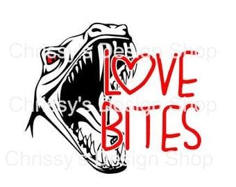 Dinosaur love valentines svg / love bites svg / dinosaur svg file / dxf / eps / pdf / png / valentines day / school valentine / clip art