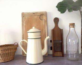 60s French enamel coffee pot