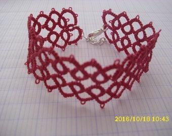 Bracelet pink tatted /dentelle