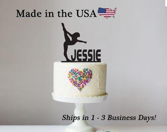 Gymnast Cake Topper, Gymnastics Decor, Cake Topper, Female Gymnastist, Cheer, Dance, Athletic, Birthday Party, Cake Decoration, LT1189