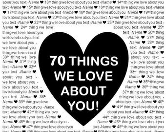 """16x20"""" Template in Microsoft Word for """"70 Things We Love About You"""" Editable and Printable Artwork in Black"""
