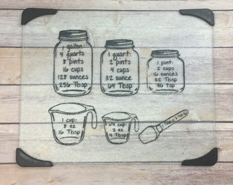 Kitchen Conversion Chart Glass Cutting Board - Housewarming Gift - Kitchen Decor - Kitchen Measurements - Wedding Gift - Bridal Shower Gift