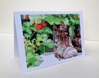 Original design 'Old Boots' greetings card 6'' x 6'', with envelope