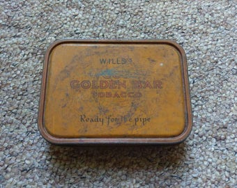 Vintage Wills Cut Golden Bar Tobacco tin box