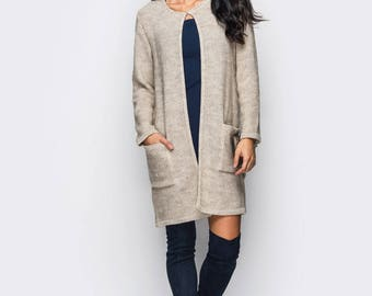 Long knit cardigan Beige Autumn cardigan Oversized knitted cardigan Womens cardigan Long womens  Gray coat Long wool cardigan Gift her