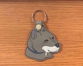 Pit Bull Terrier Vinyl Snap Tap Key Fob