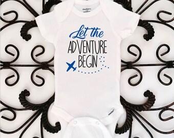 Let the adventure begin onesie, adventure onesies, onesie, baby shower gift, pregnancy announcement