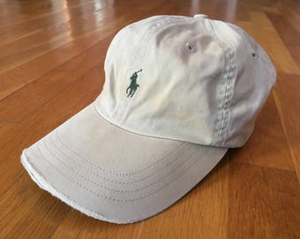 Vintage Polo Hat Polo by Ralph Lauren Cap strapback khaki green Polo Player worn distressed
