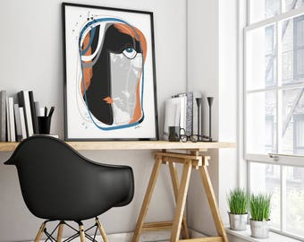 The Face : Modern and contemporary, expressive human face abstract art print