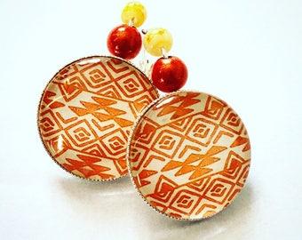 Orange yellow Aztec pattern cabochon earrings