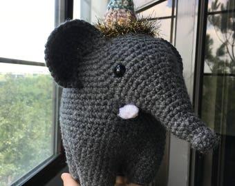 Crochet Elephant, Elephant Plush, Plush Elephant, Elephant, Circus Elephant,