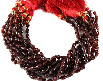 ON SALE Garnet Faceted Teardrop Beads, Garnet Beads, Straight Drilled, 9 Inch Strand, 5 x 7 mm Approx