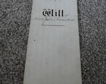 John Marflitt County of York History LAST WILL and TESTAMENT Scarborough 1865-original written copy