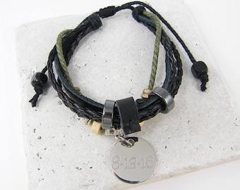 Custom Date Bracelet, Personalized Black Green Leather Charm Bracelet |2610 & 2555