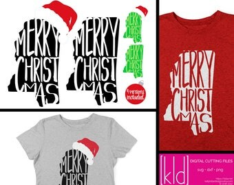 4 Mississippi Christmas SVG Files - Mississippi svg - Merry Christmas svg - Santa Hat svg - State if Mississippi Christmas