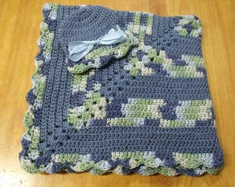 NEW Handmade Crochet Baby Blanket and Hat/Beanie Set - Blue & Blue Variegated Striped - A Wonderful Baby Shower Gift!! - SEE NOTE!