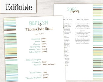 INSTANT DOWNLOAD, Editable LDS Baptism Program, Printable Digital Handout boy Baptism, Boy Baptism