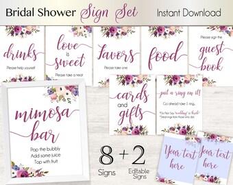 Bridal Shower Sign Set, Bridal Shower Sign Package Set Bundle , Printable Bridal Sign, Bridal Tea Games, Lavender Floral Sign, Editable Sign